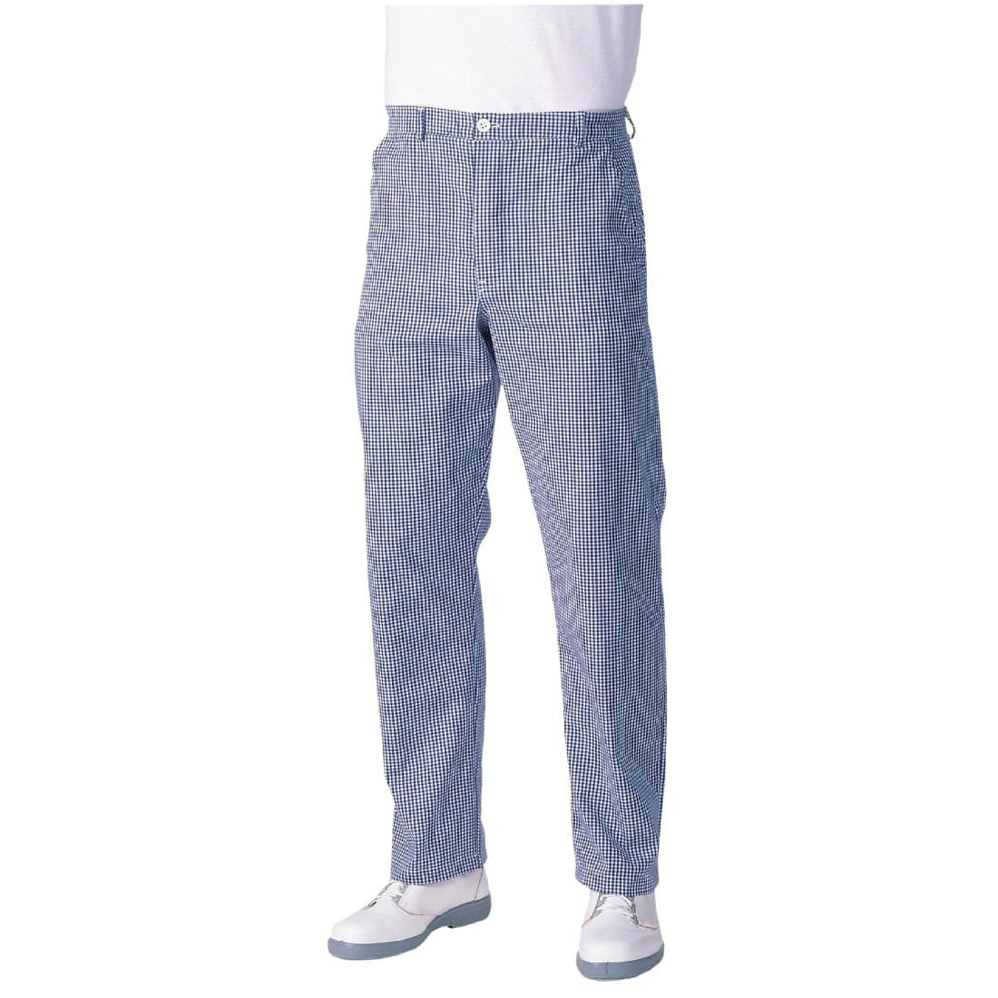 Whites Mens Chef Trousers Blue and White Check Extra Long 36in