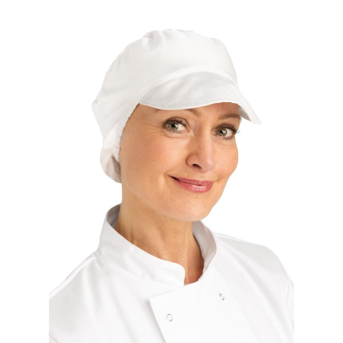 Whites Unisex Bakers Cap with Snood White