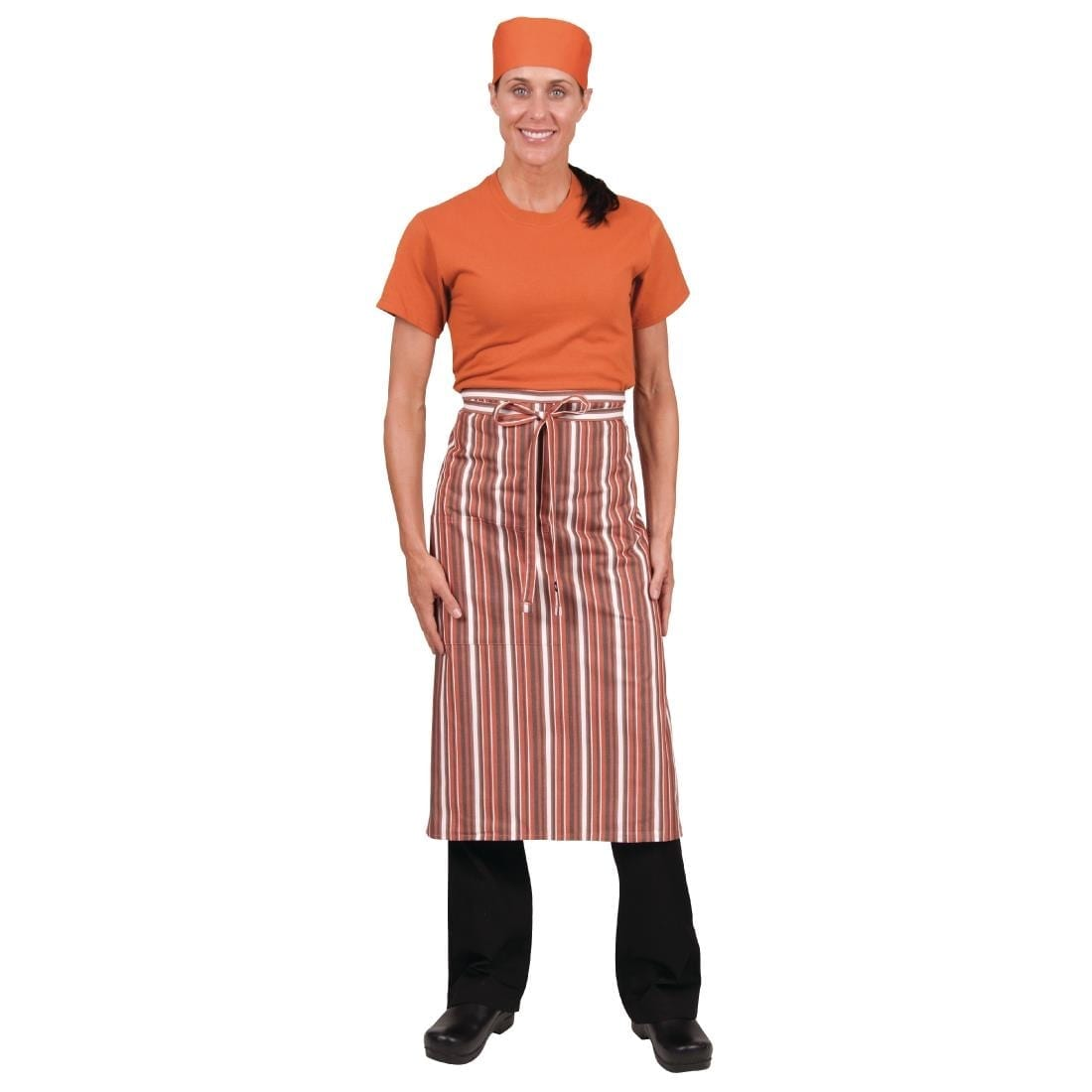Chef Works Bistro Apron Orange White Brown Stripe