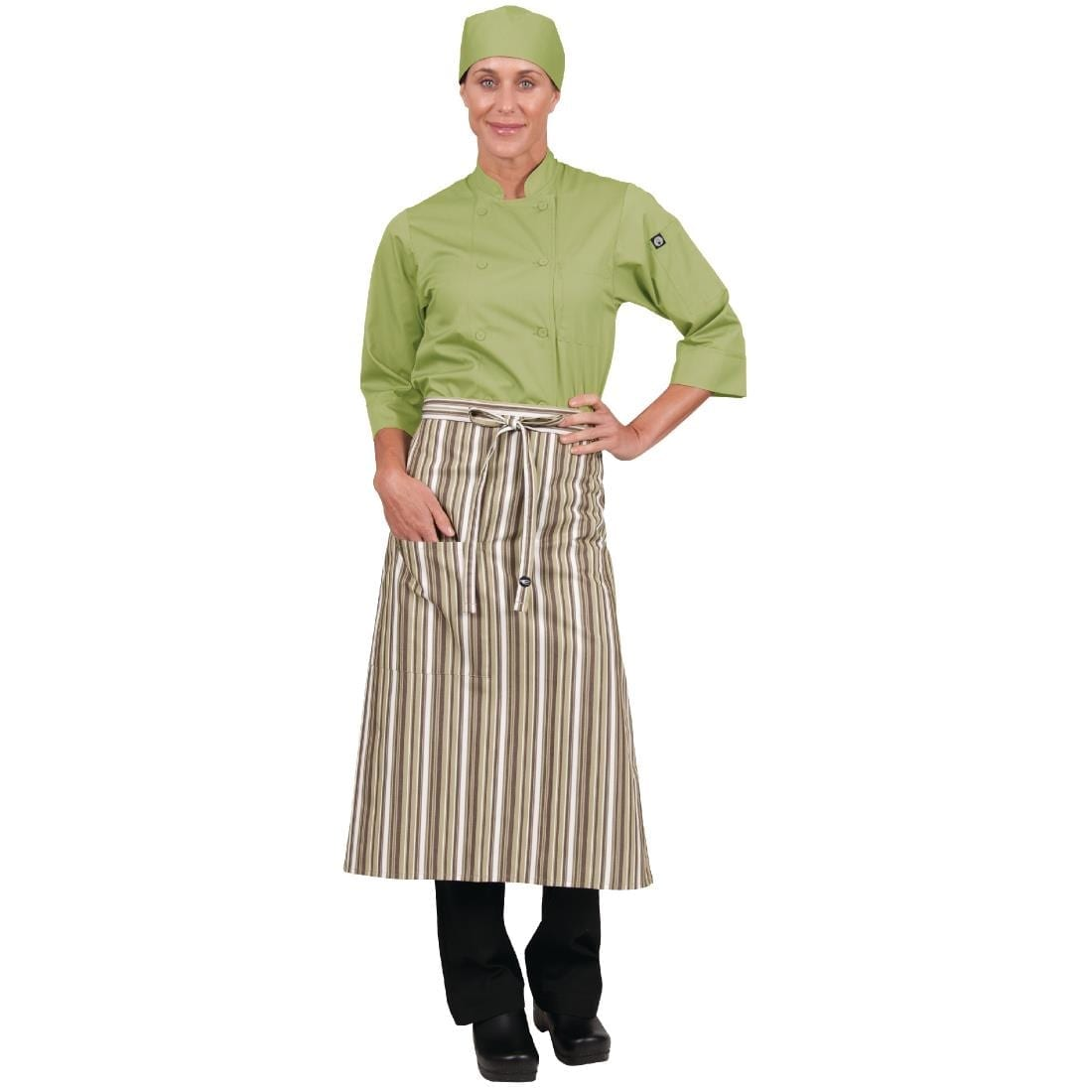 Chef Works Bistro Apron Lime White Brown Stripe