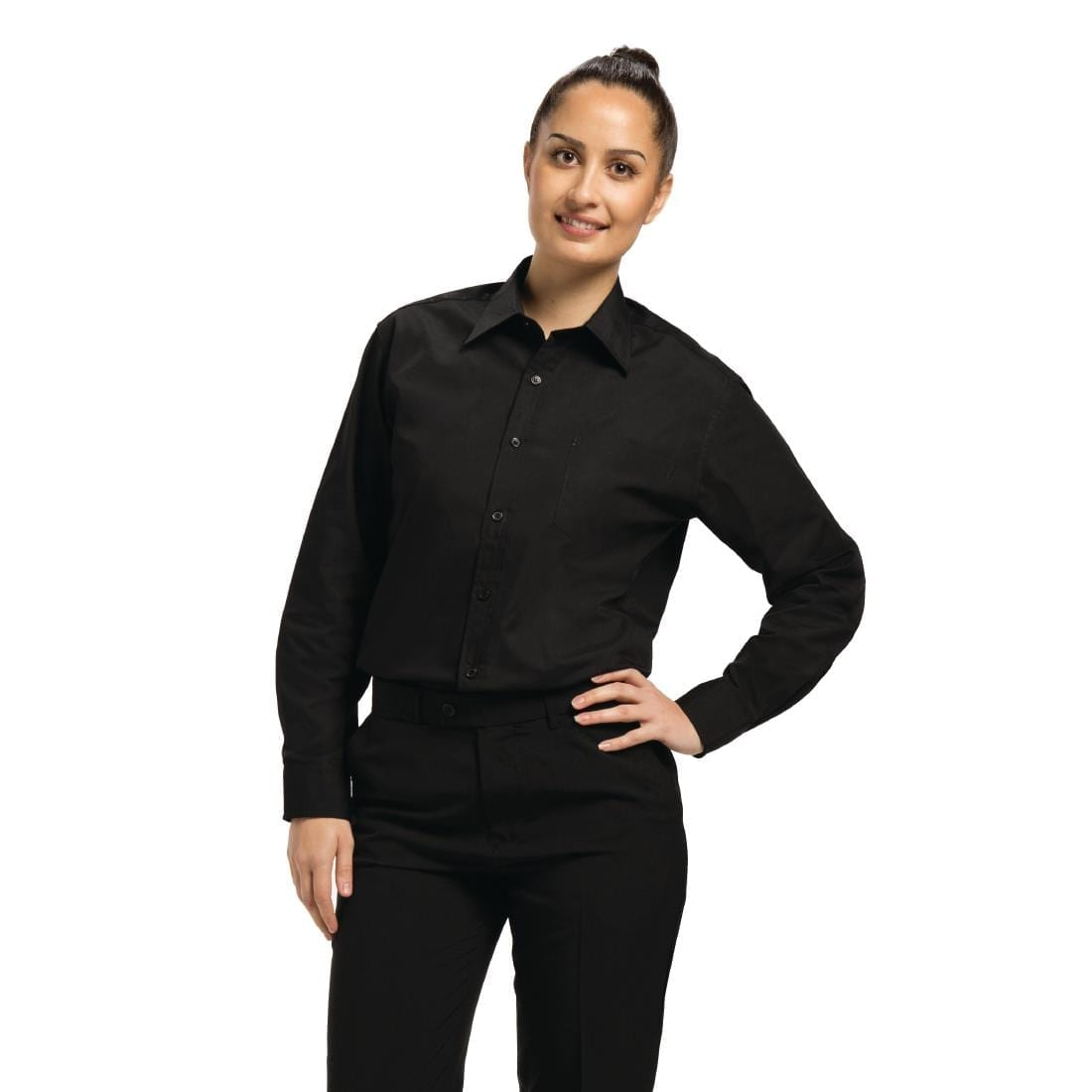 Chef Works Unisex Long Sleeve Dress Shirt Black 2XL