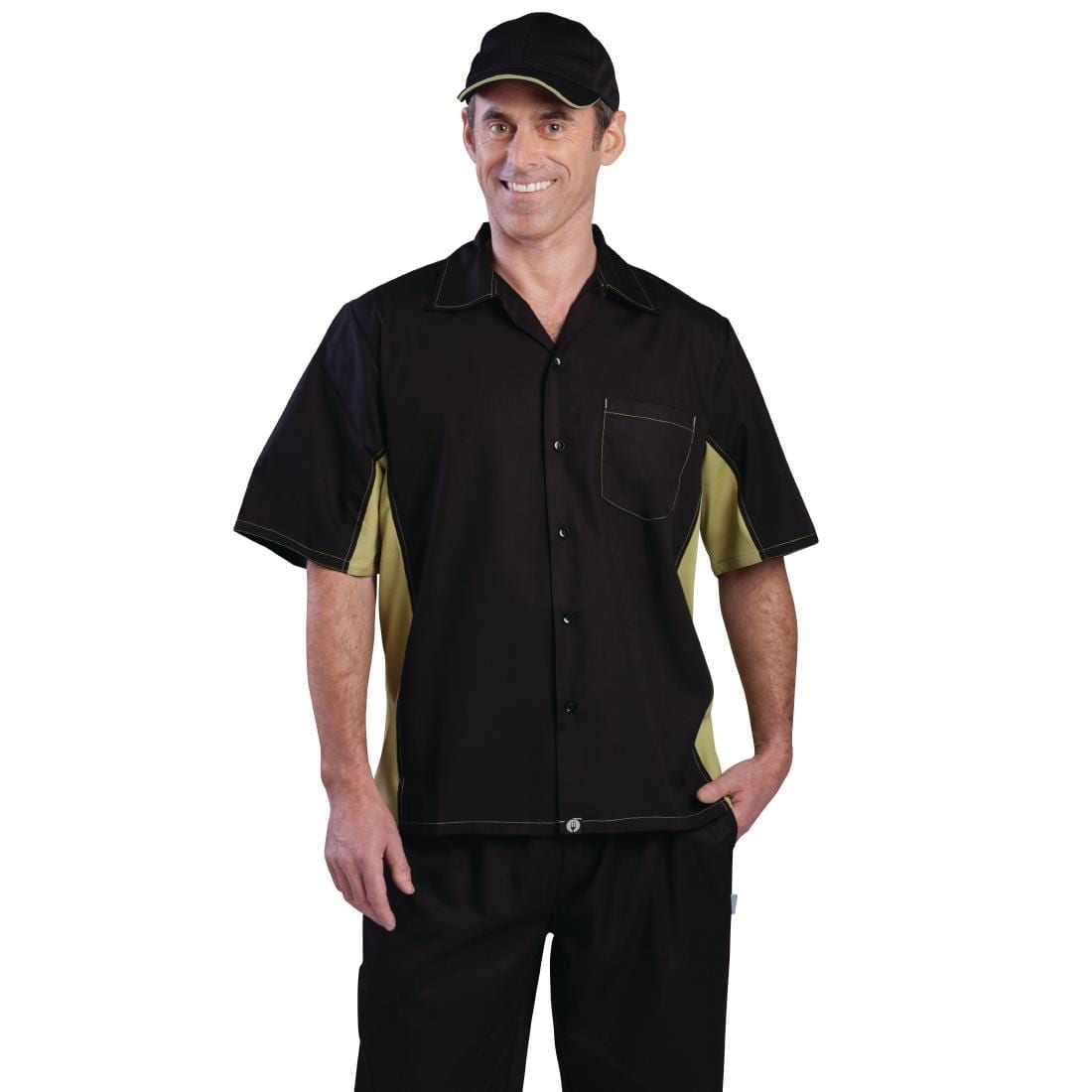 Chef Works Unisex Contrast Shirt Black and Lime M
