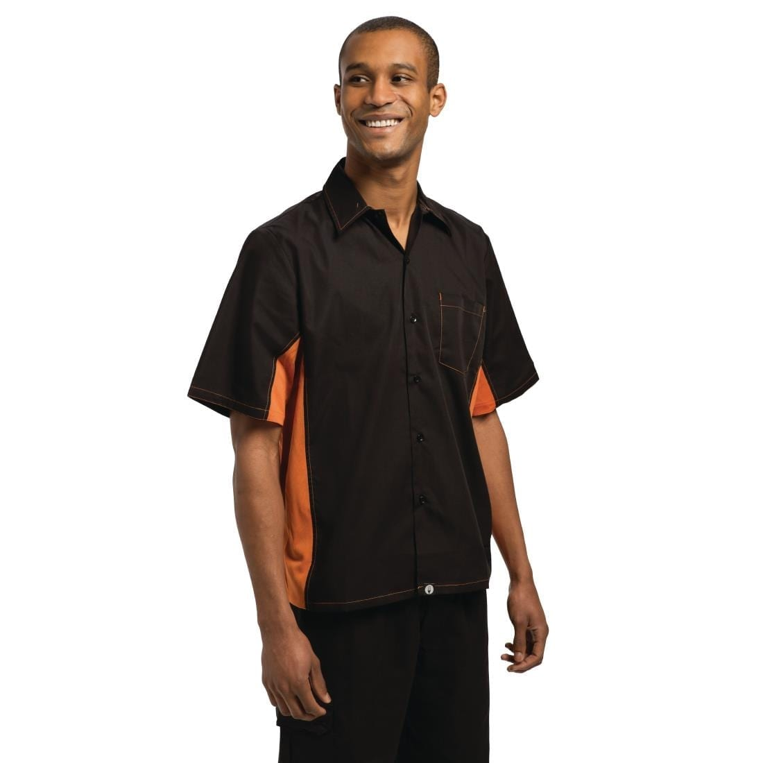 Chef Works Unisex Contrast Shirt Black and Orange S