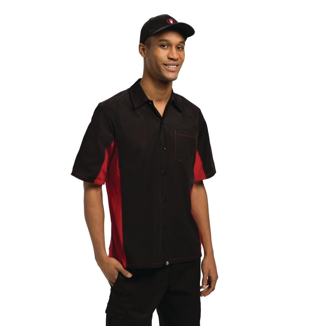 Chef Works Unisex Contrast Shirt Black and Red S