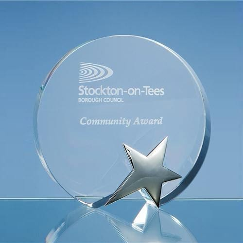 15cm-Optical-Crystal-Circle-Awards-with-Silver-Star