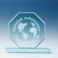 15cm x 12mm Jade Glass Octagon Awards