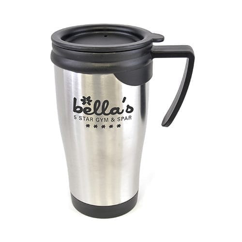 450ml Silver S/S Travel Mugs With Push On Lid
