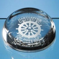 9cm Lead Crystal Flat Top Dome Paperweights