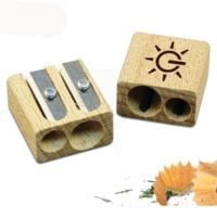 Double Wooden Pencil Sharpeners