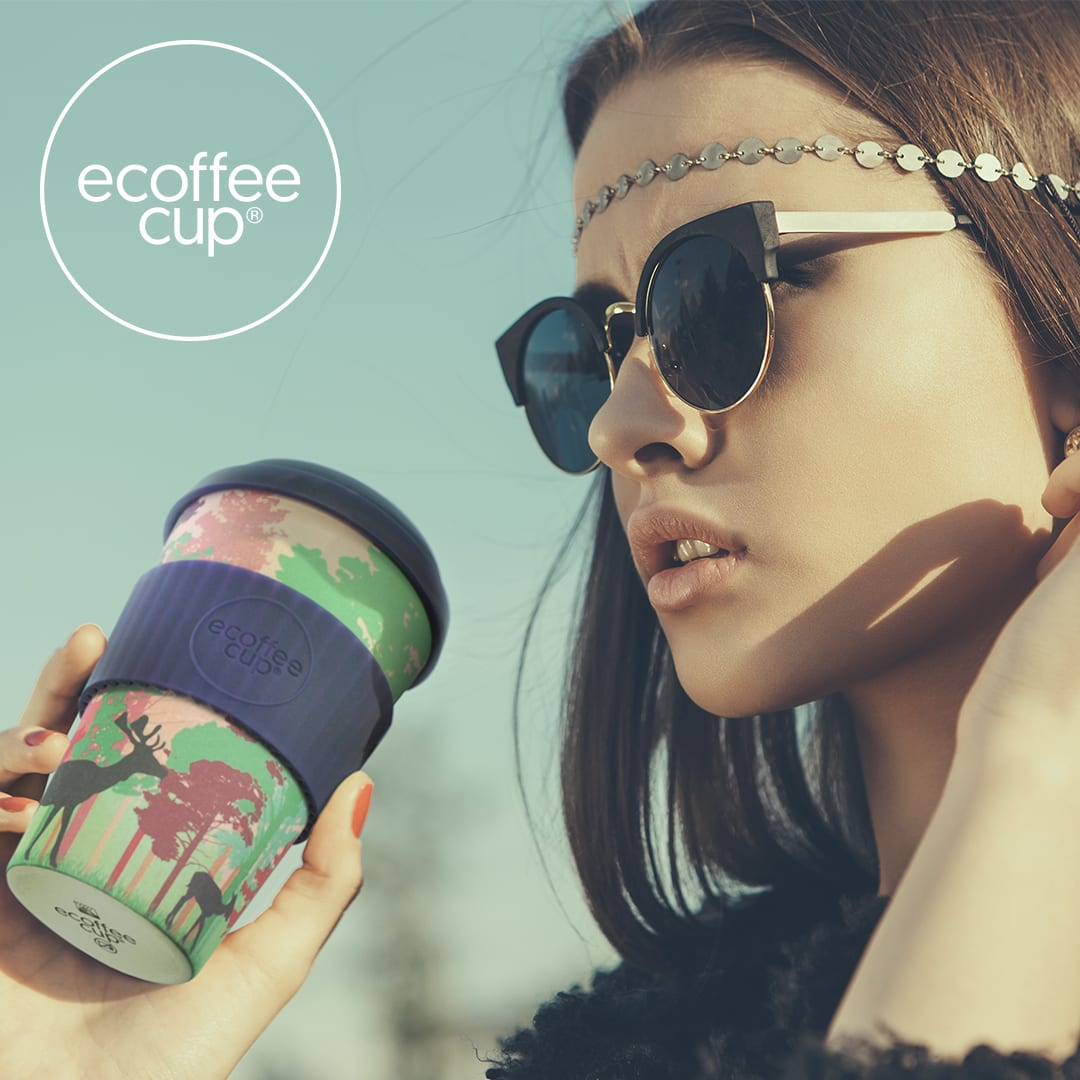 Drinking from a Branded Ecoffee Cup